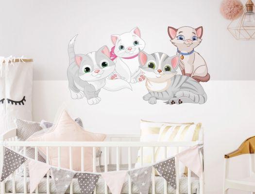 Wandtattoo Katzen Babys Familie als Kinderzimmer Deko I