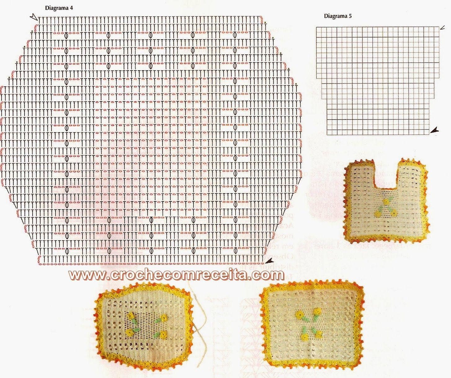CROCHE COM RECEITA Tapetes em crochê bem simples para o banheiro  Crochet B -> Tapete Banheiro Simples