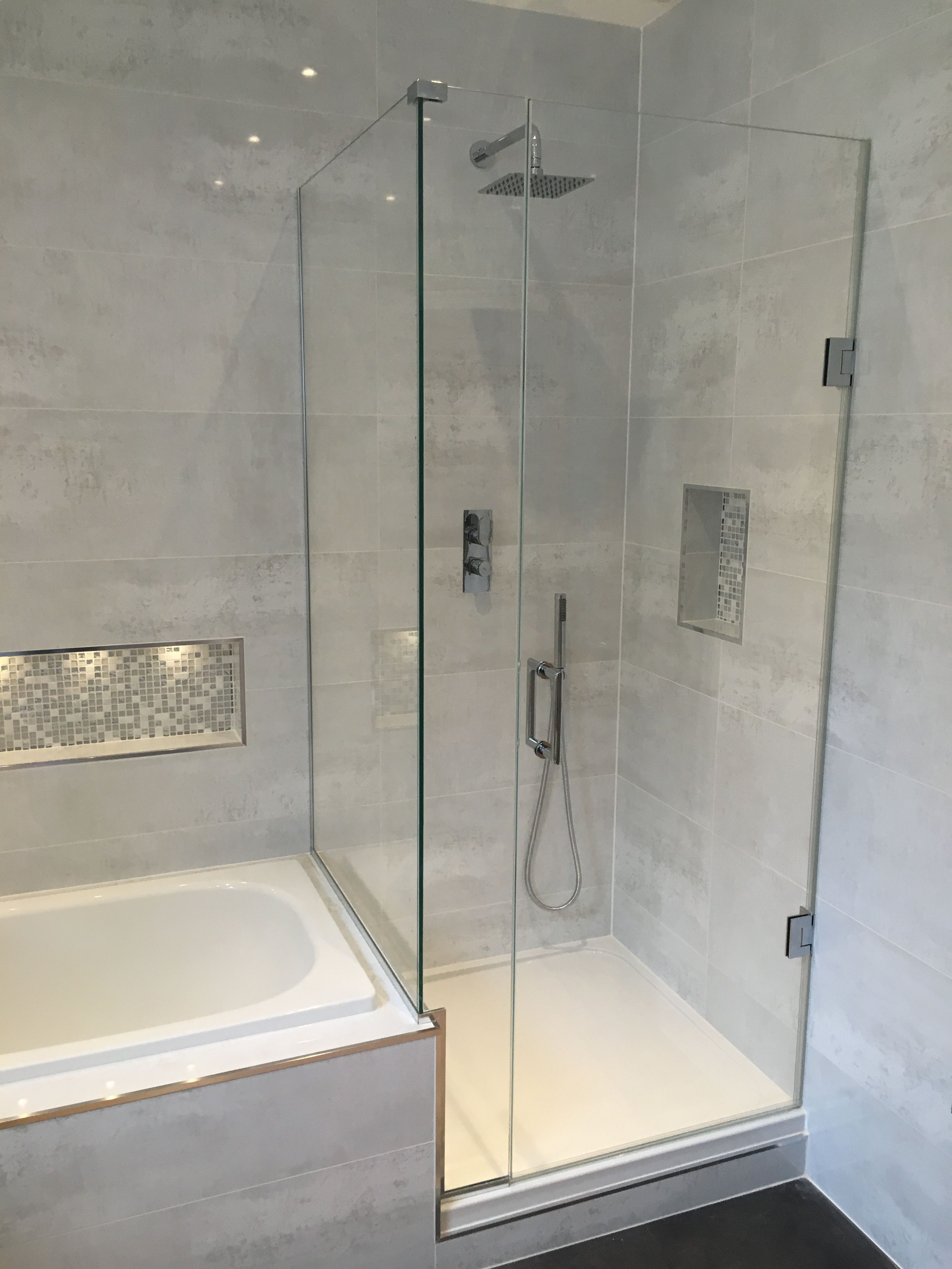 Frameless Shower Enclosure with tray butting up to bath end ...