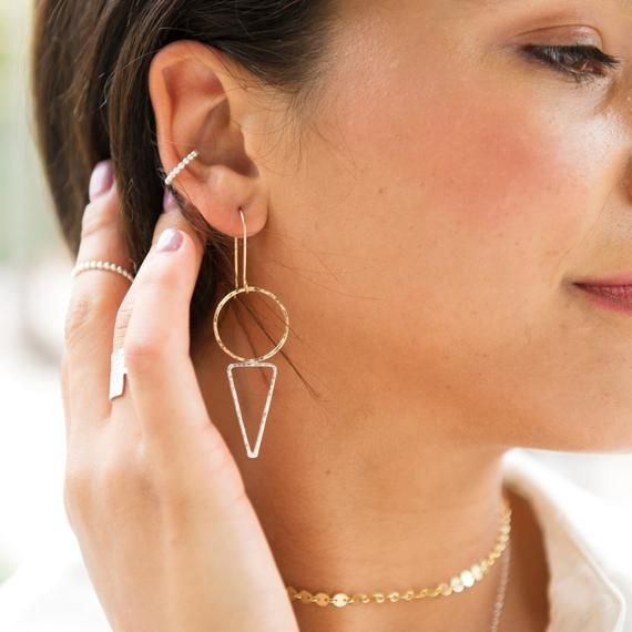 Photo of Circle triangle earrings / mixed metals / sterling silver / 14k gold filled / geometric / minimalist / dainty jewelry / gifts for her