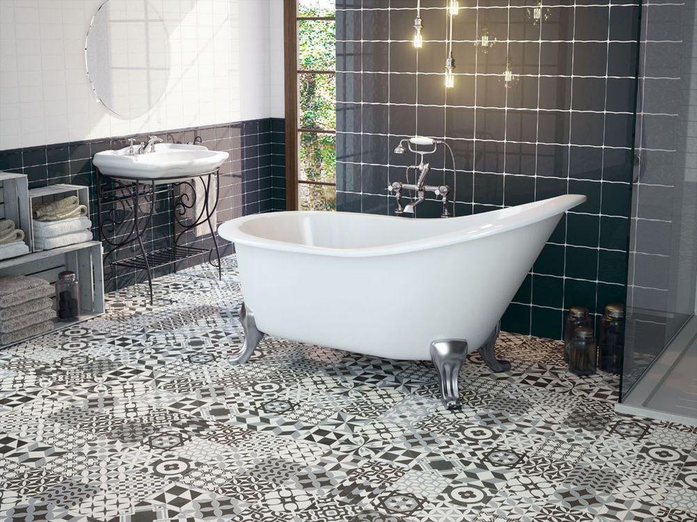 Gaudi Black White Patchwork Victorian Encaustic Porcelain Wall Floor Tiles
