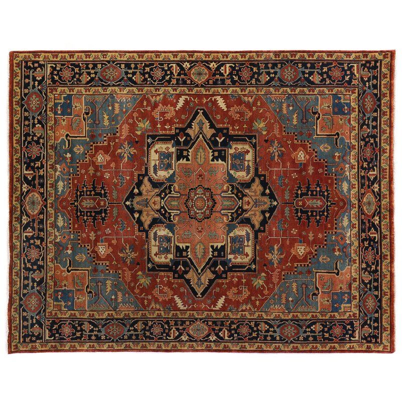 Serapi Oriental Hand Knotted Wool Red Blue Area Rug Exquisite Rugs Black Area Rugs Area Rugs