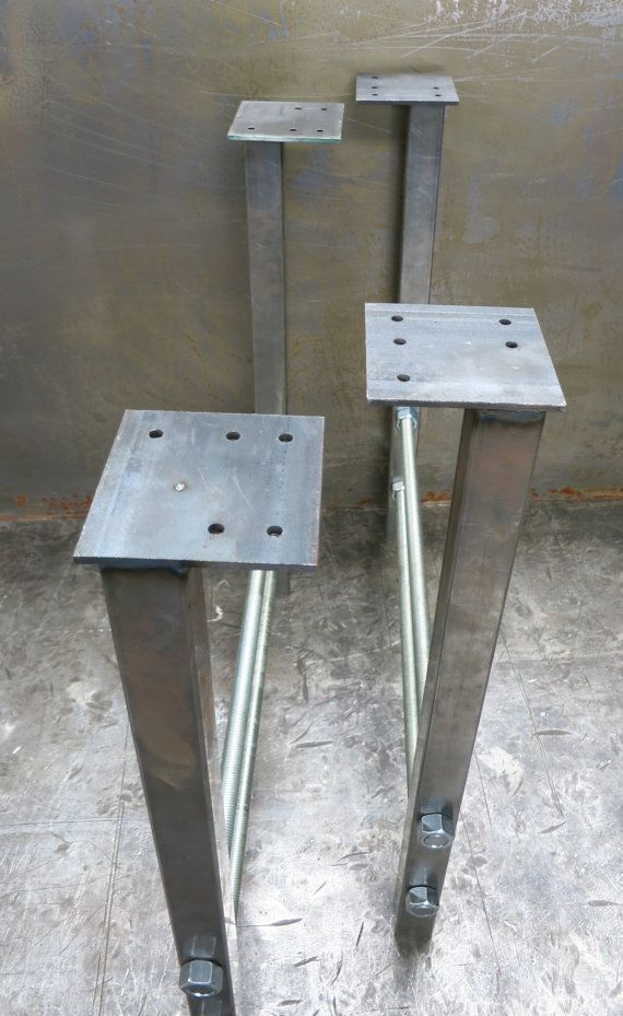 Metal Table Legs Double Threaded Rod Etsy Metal Table Legs Metal Table Table Legs