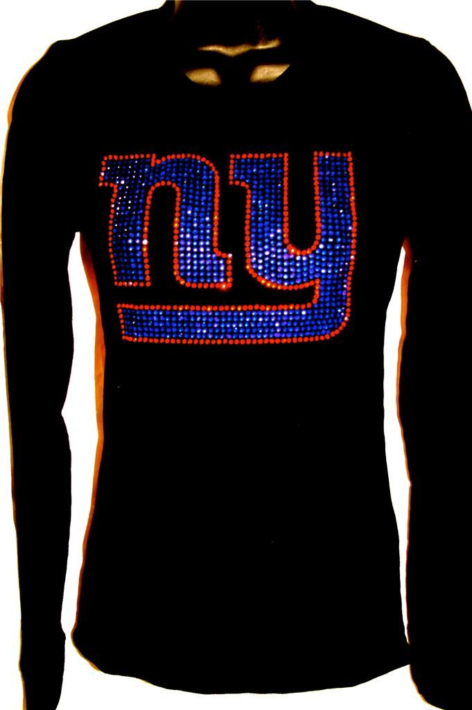Women's New York NY Giants BLING Sparkle Jersey Tee Tshirt Tank ...