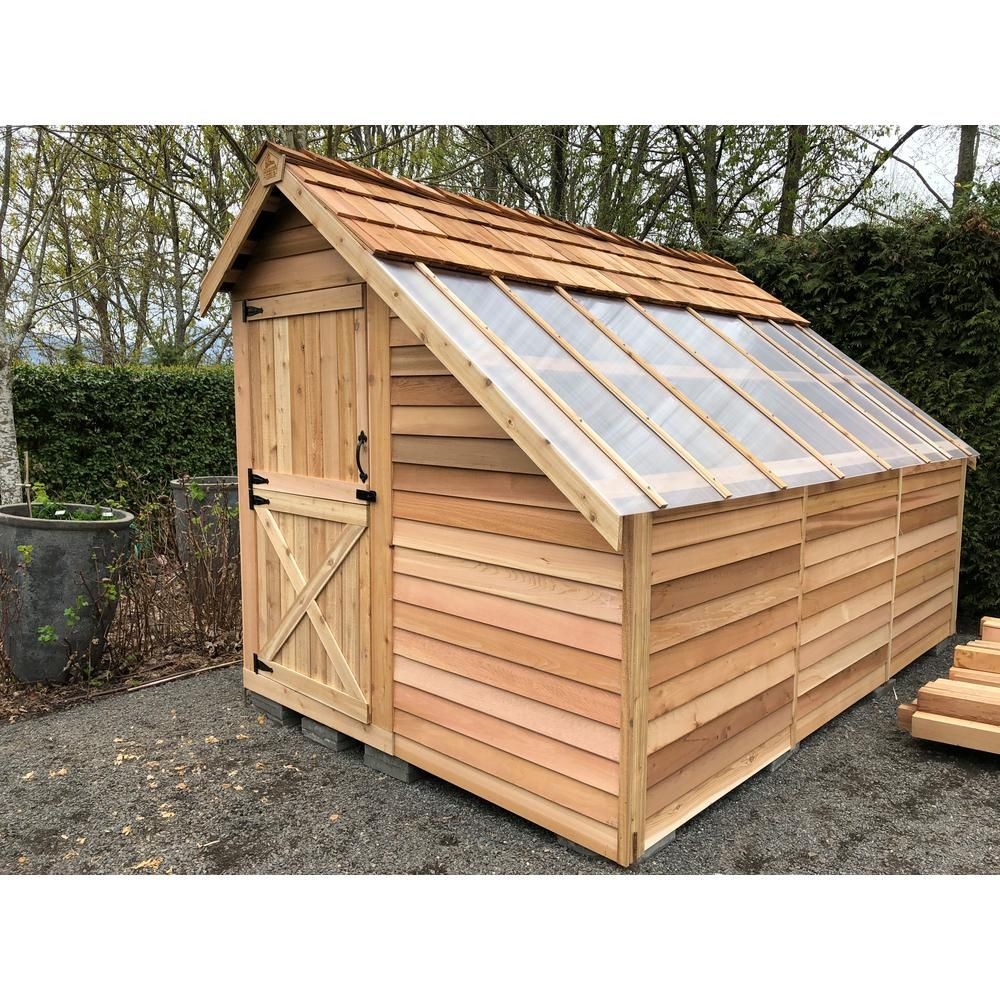 Cedarshed Sunhouse 8 Ft 9 In X 13 Ft Western Red Cedar Garden Shed Browns Tans In 2019 Cedar Garden Home Greenhouse Patio Kitchen