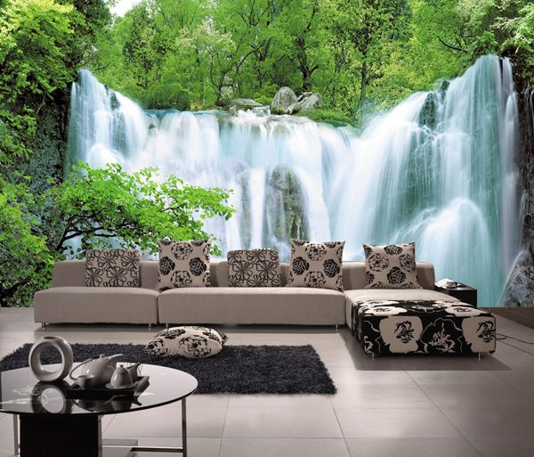 Aliexpress Com Buy Large 3d Tv Mural Sofa Waterfall Wallpaper