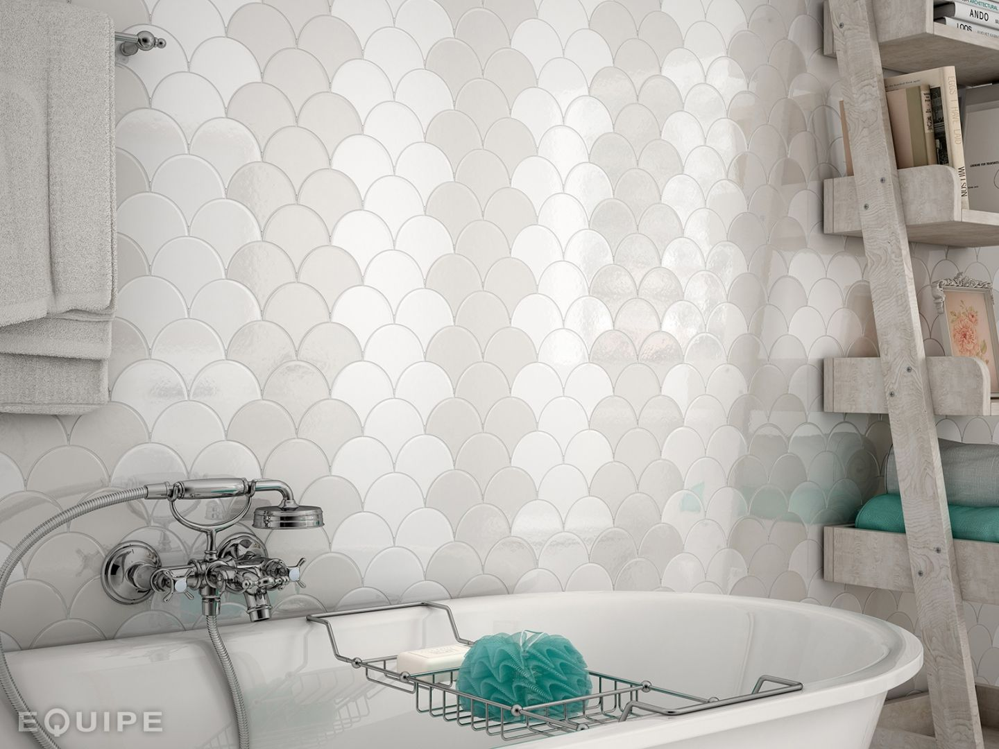 Fan Shaped Fish Scale Mosaic Tiles Fish Scale Tiles Also Known As Fan Shaped Or Scallop Shaped Tile Bathroom Design Fish Scale Tile Fish Scale Tile Bathroom
