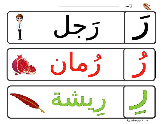 تعليم حرف الراء لرياض الاطفال مع ورقة عمل Arabic Alphabet For Kids Arabic Alphabet Letters Arabic Kids