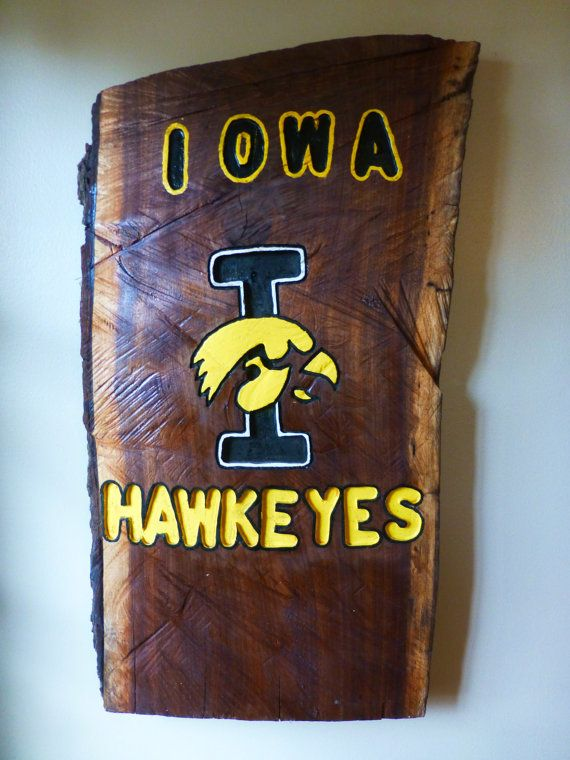 This Iowa Hawkeyes sign is made using a reclaimed wood log. This sign is  hand - Iowa Hawkeye Sign, Made From A Wood Log, Hand Painted, Hand Carved