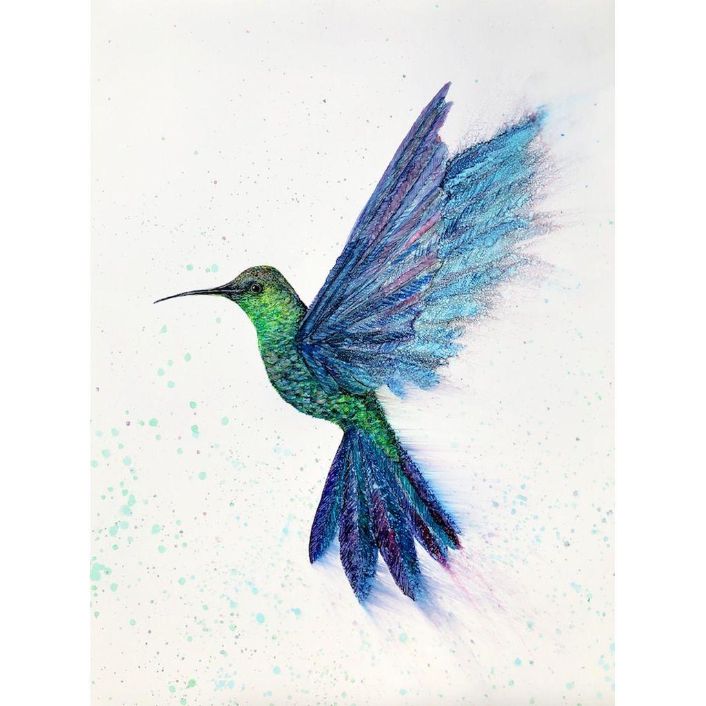 Hummingbird in flight prints hummingbird art art