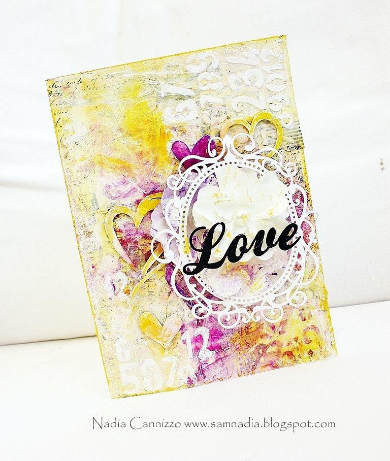 A mixed media card for Manor House Creations!