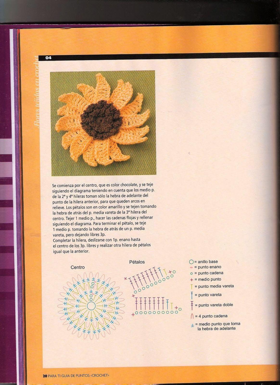 Flores en crochet con diagramas - Revistas de manualidades Gratis ...