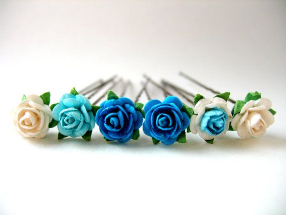 Ballet Bun Flower Accessories For Children's Ballet Dance Classes and Performances Set of Six Multi-Tonal Blue Rose Flower Bobby Pins