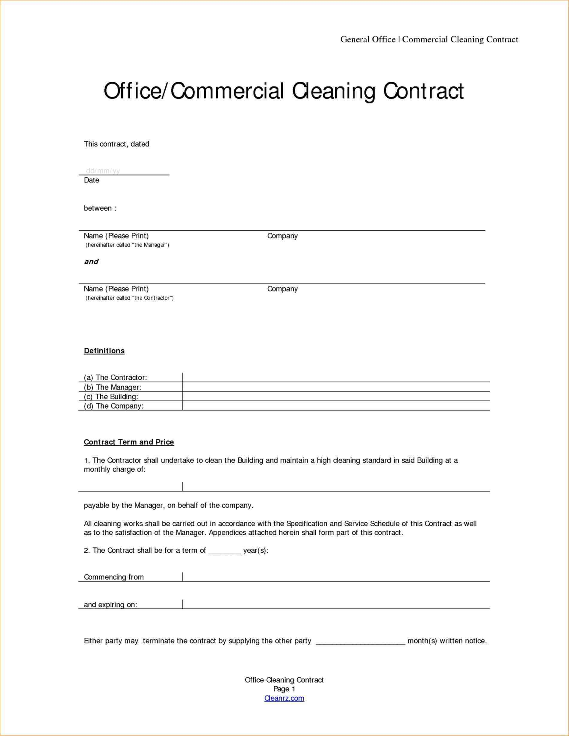 Contract Proposal Template Free Impressive Contracts Templates For Cleaning Services Template Service Proposal .