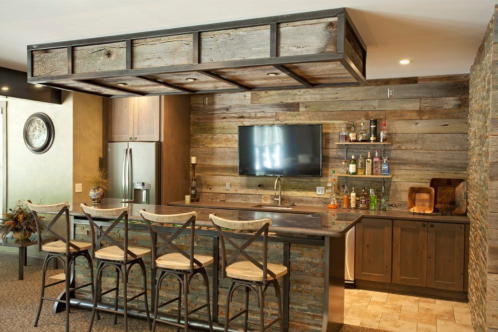 Basement Bar Ideas Rustic Home With Stone Wall Reclaimed Wood Recessed Lighting