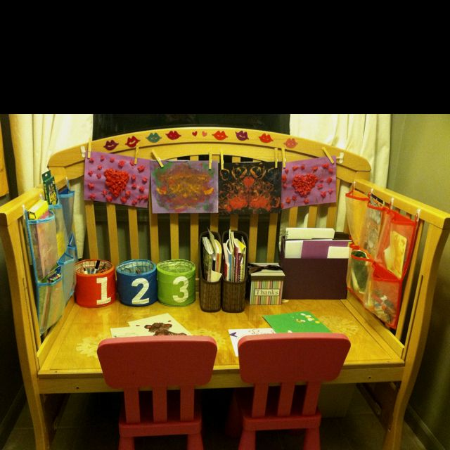 Upcycled crib to desk. Plexi top and a few things from ikea. This ...
