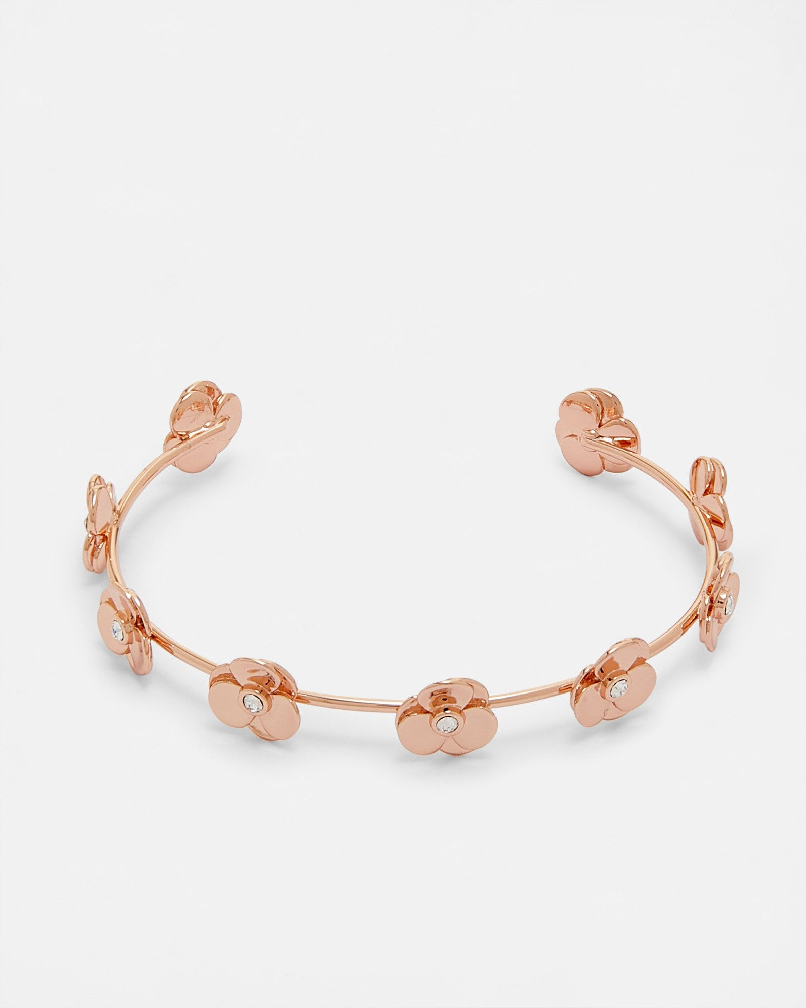 Pressed Flower Swarovski Crystal Cuff Rose Gold Jewellery Ted Baker Uk