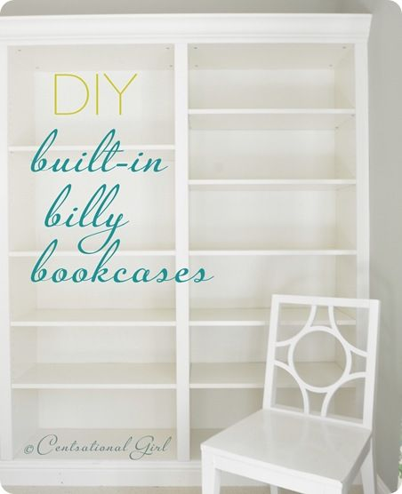 Four Ikea Billy bookcases with trim added to look built in.  By @CentsationalGirl