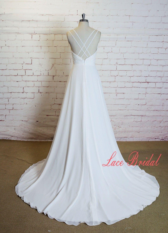 Crossed Straps Back Wedding Dress With Beaded Belt Sweetheart