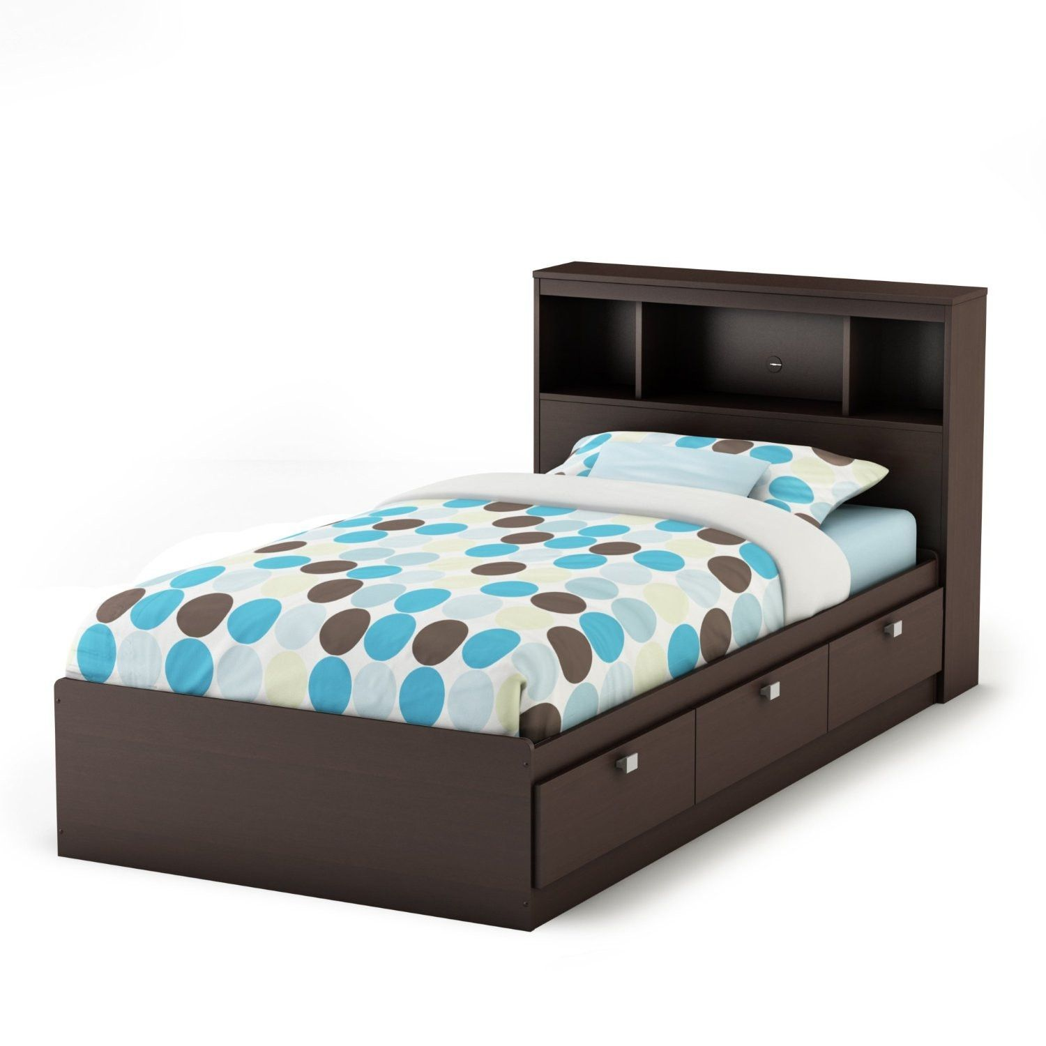 Twin Size Contemporary Bookcase Headboard In Chocolate Finish Twin Storage Bed Bed Frame With Storage Bed With Drawers