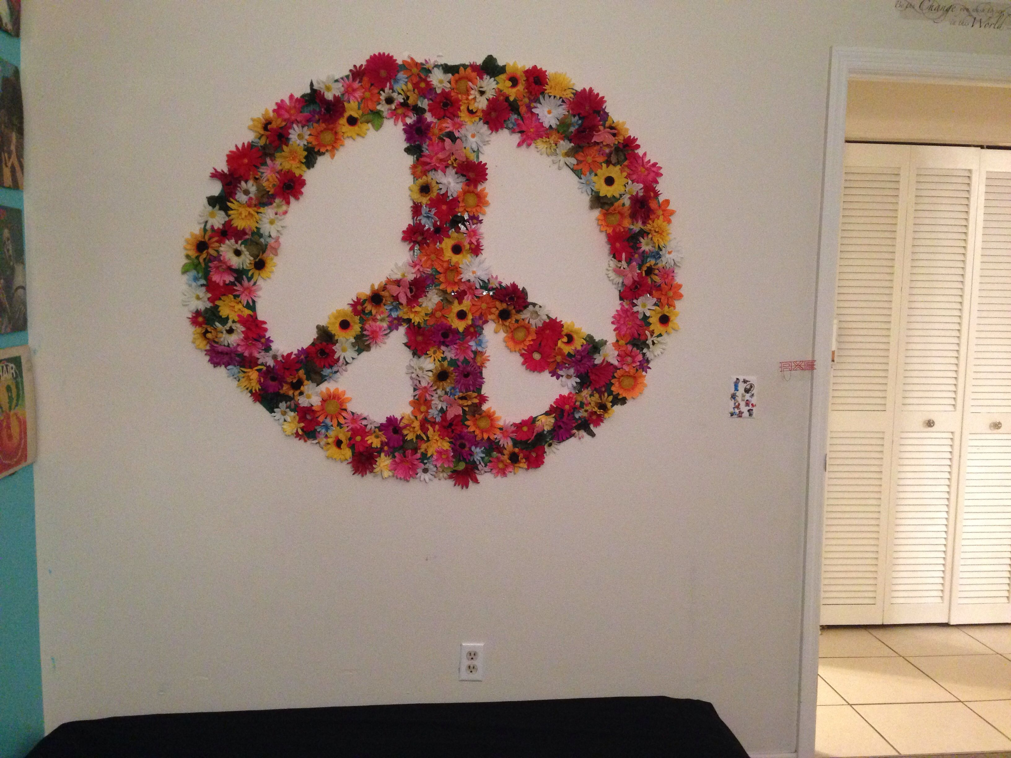 Peace Sign Bedroom Decor Flower Peace Sign Made From Cardboard Diy Bedroom Decor