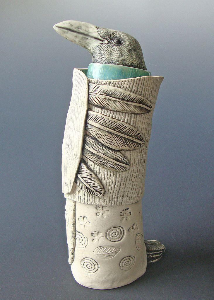 zzz in 2020 Crow art, Pottery Ceramic birds