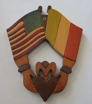 250686d2cc5c Vtg Folk Art Carved Wooden Plaque Irish American Flags Claddagh St Patricks  Day