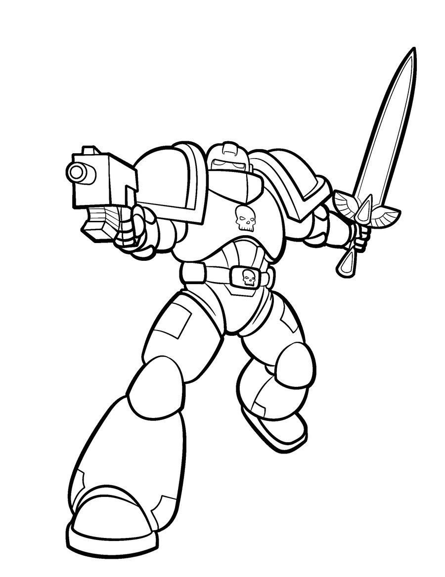Space Marine Lineart By Blazbaros Space Marine Warhammer Art