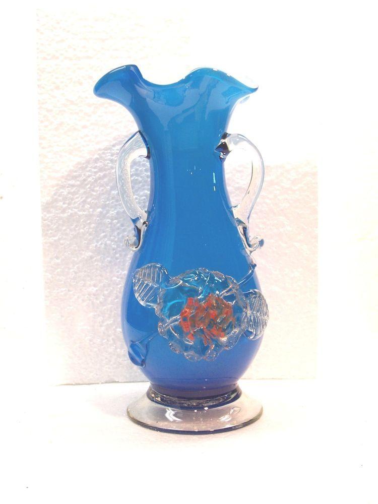 Blue Amp White Cased Art Glass Ruffled 9 5 Quot Vase Applied 3d Flower Handles Italy Muranoglass