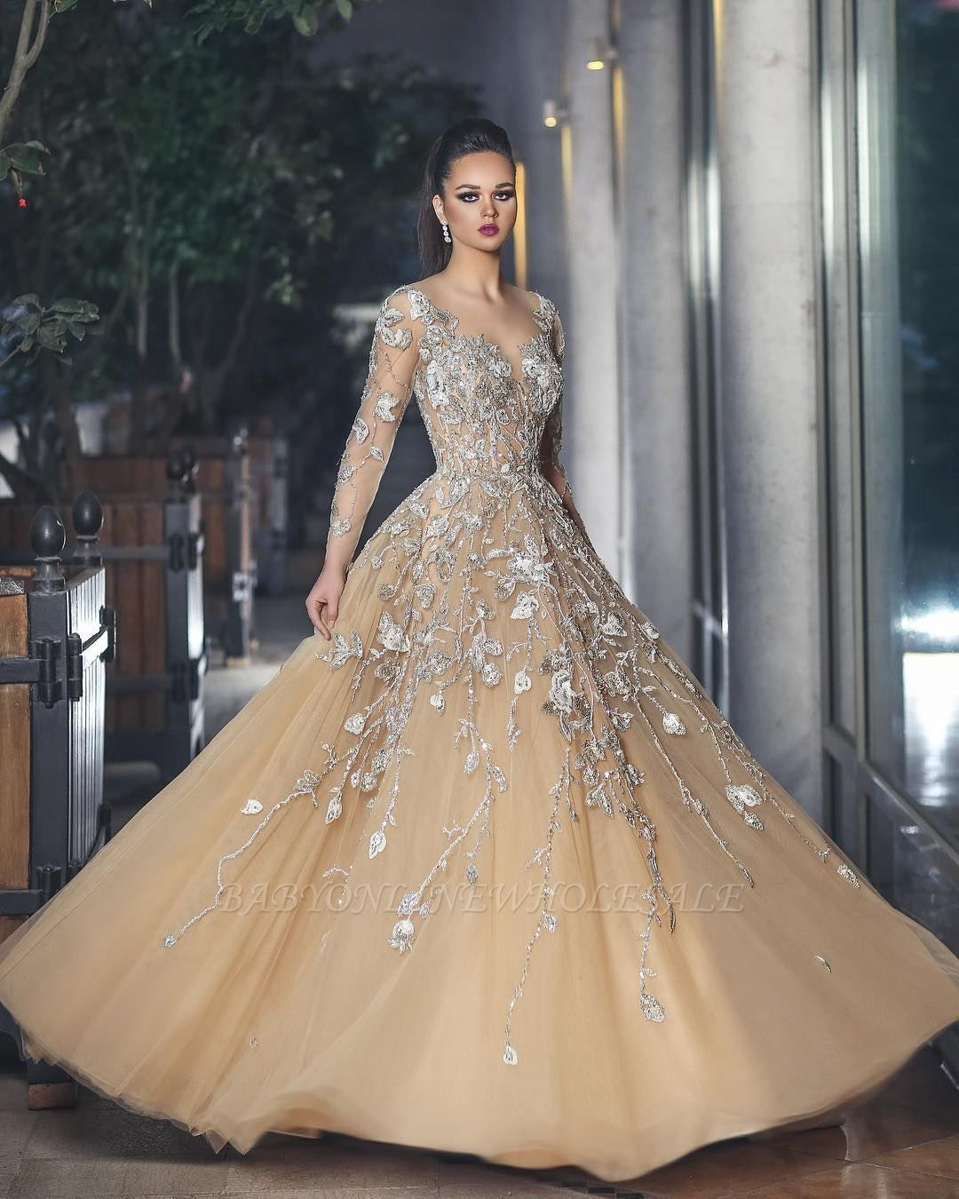 a5f5c7f643b Glamorous Long Sleeve Evening Dress Tulle With Lace Appliques BA8501 ...