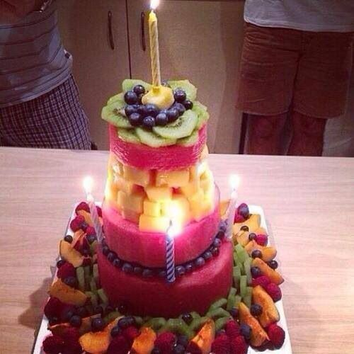 Healthy Birthday Cake Made Out Of Fruit!