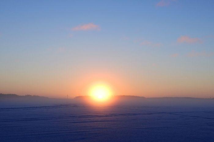 Sun rising in Korpilahti, Finland