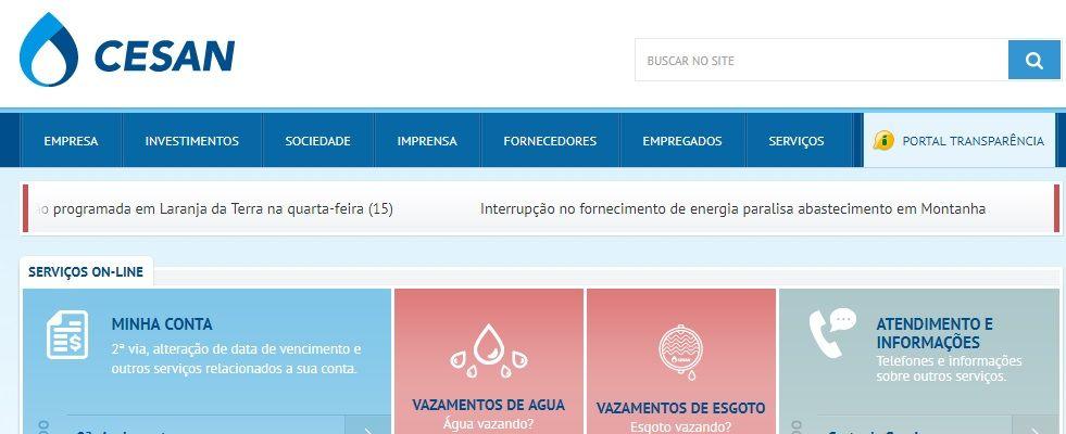 Home Do Site Cesan Contas De Agua Portal Transparencia E Imprimir