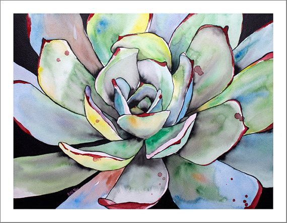 I love the colours! Succulent Agave Watercolor Painting Fine Art Print by…