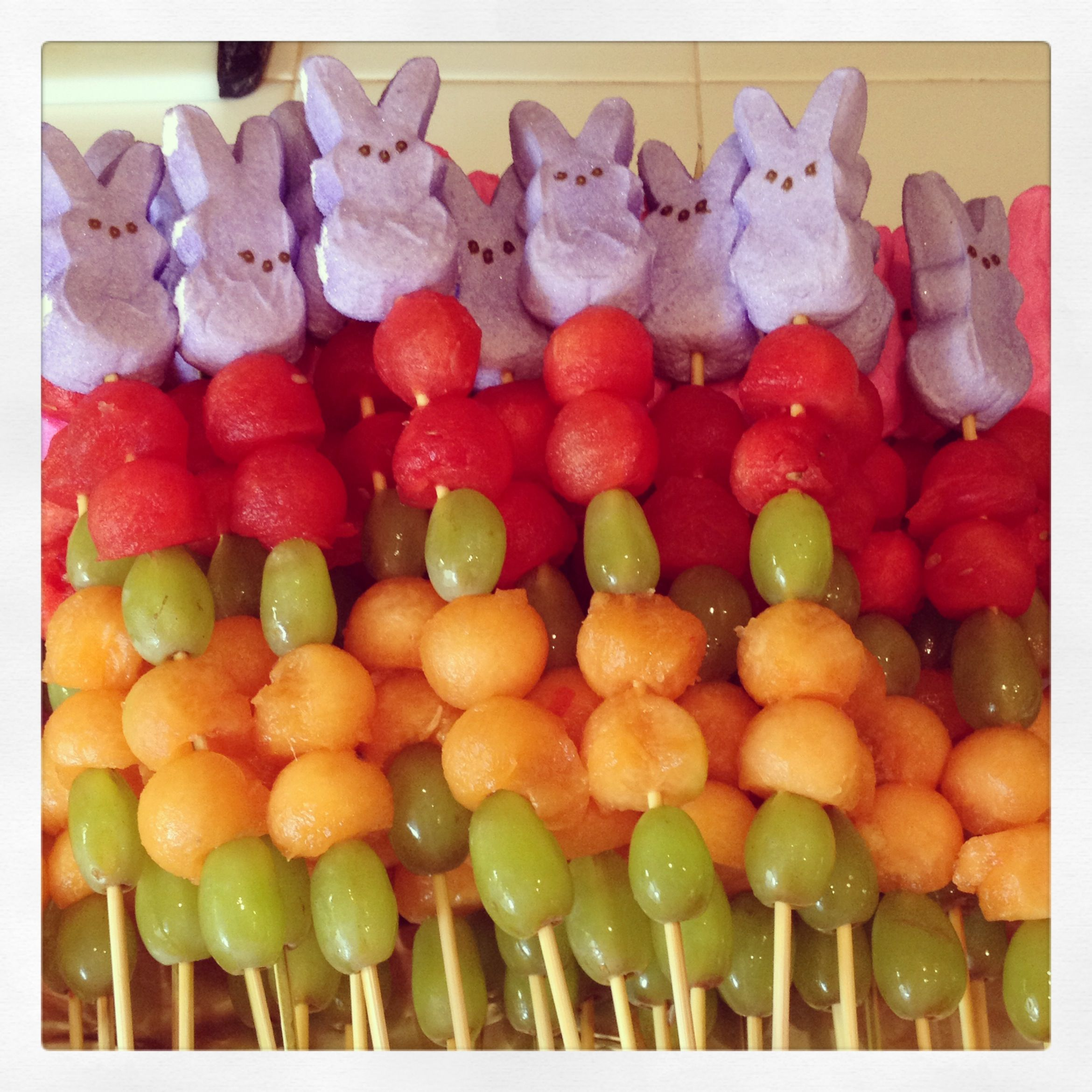 Bunny Peep Fruit Kabob Treats I Made For My Boys Classroom