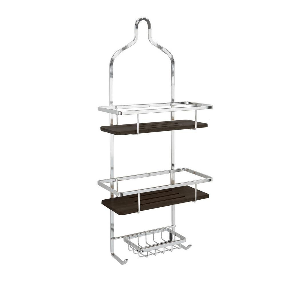 Laura Ashley Natural Bamboo Shower Caddy In Chrome Grey Hanging