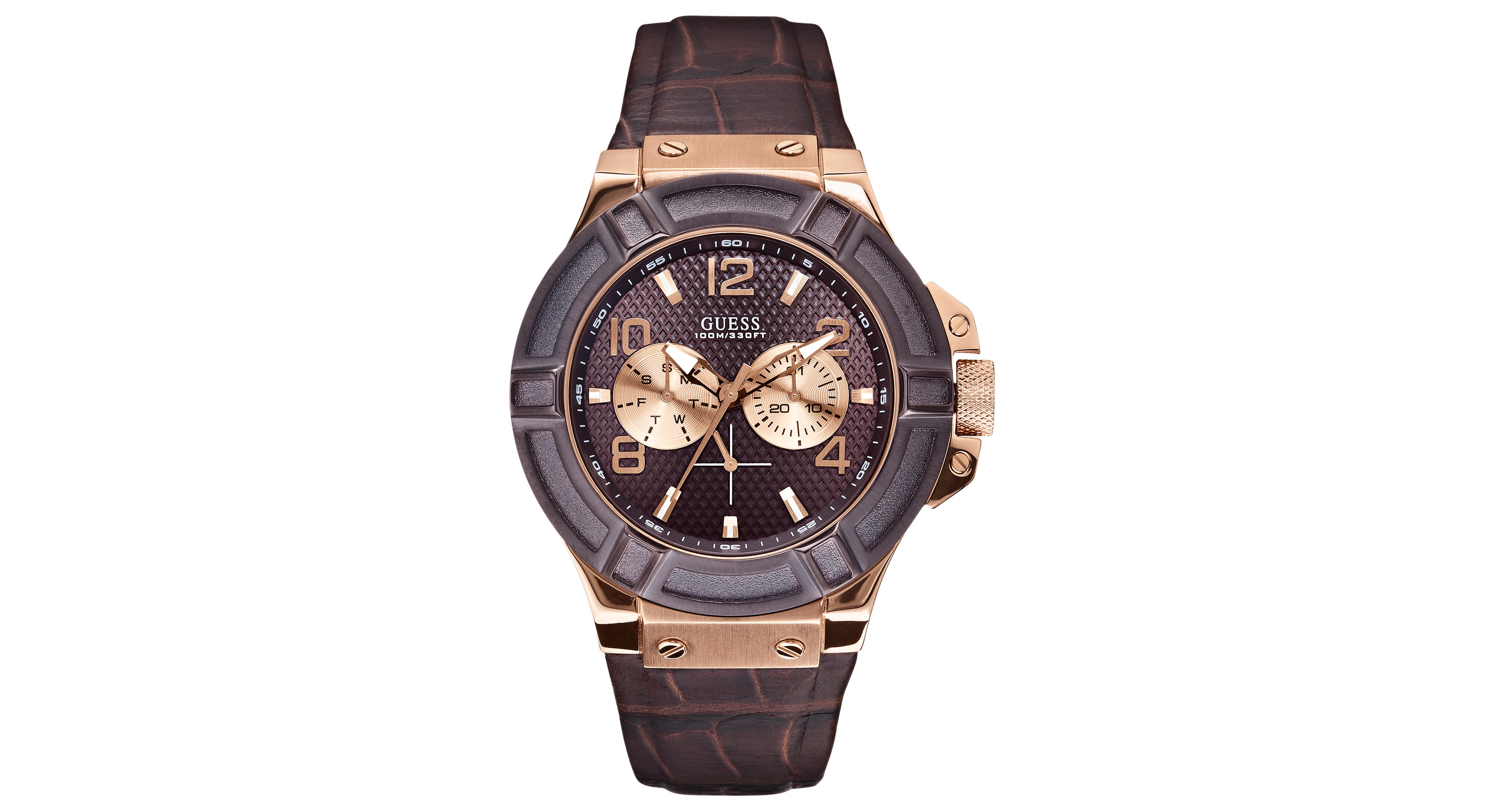 guess watch men s brown croco leather strap 46mm u0040g3 guess men s rigor standout multi function dressy sport watch genuine leather brown strap dial rose gold tone case water resistance 10 atm 100