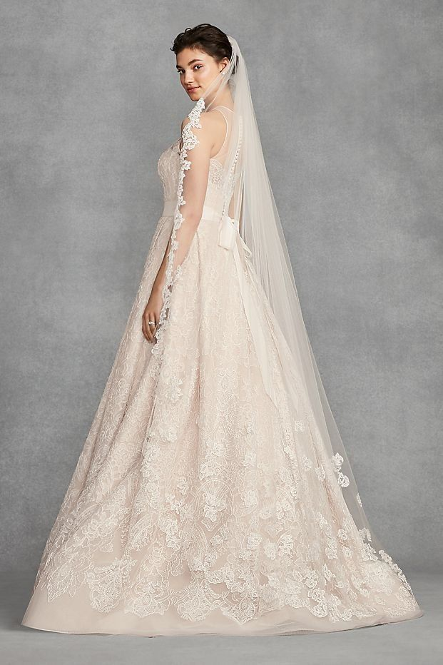 a0ce733557fc Floral Lace Applique Chapel Veil by WHITE by Vera Wang wedding collection  available at David's Bridal