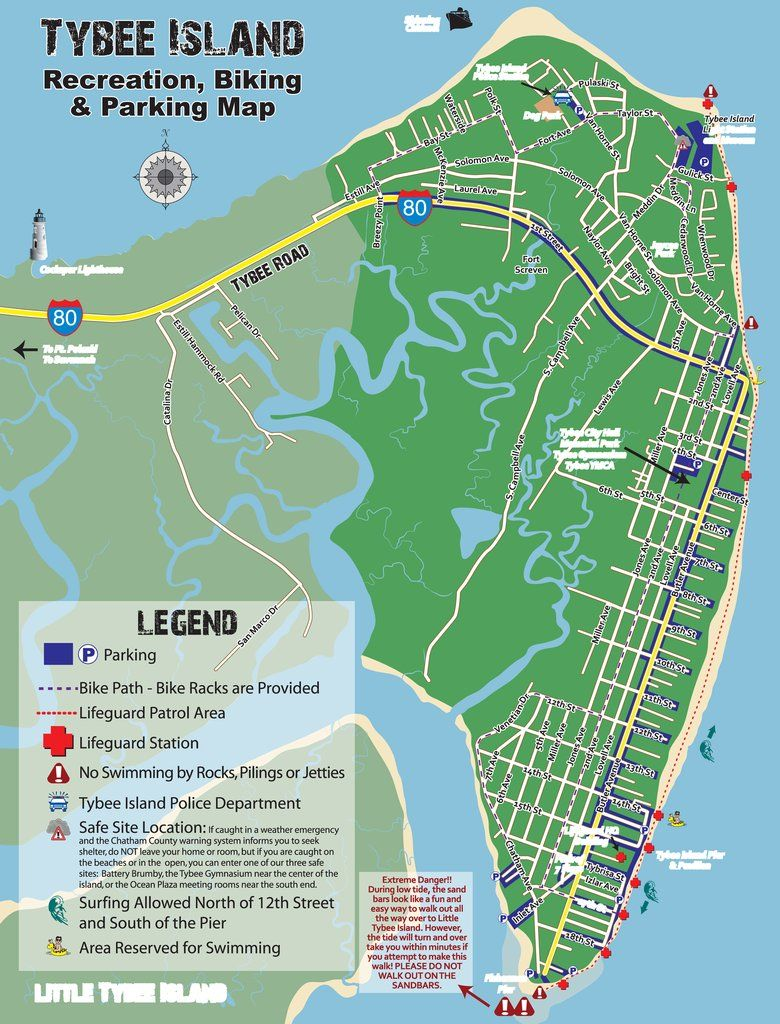 Tybee Island Recreation Biking And Parking Map Maplets