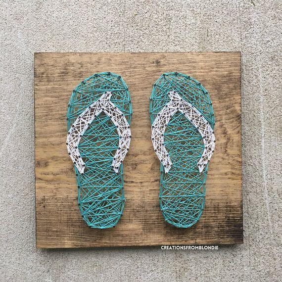 Sandals Beach House: Flip Flops, Sandals, Beach String Art Sign, MADE TO ORDER