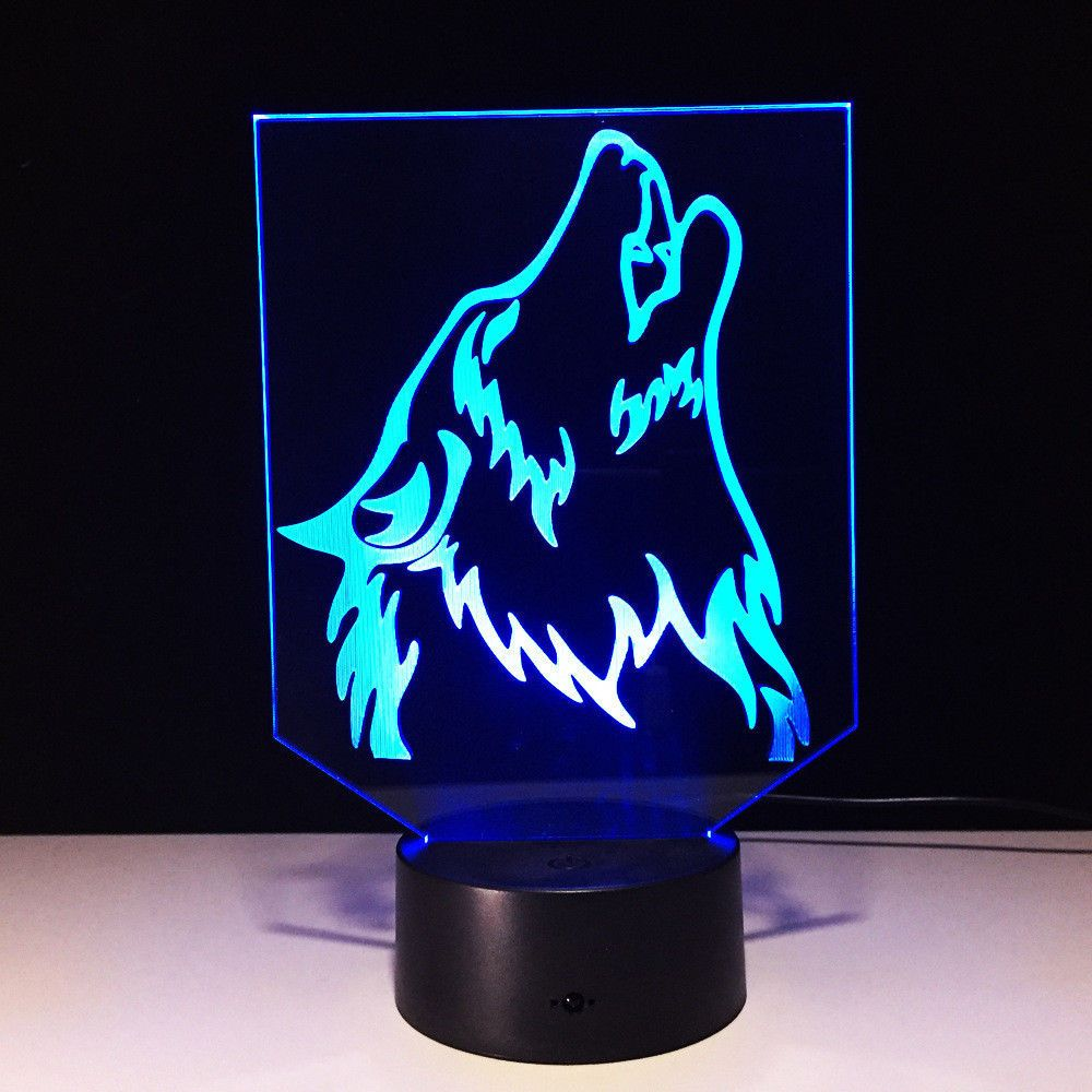 13 71 3d Illusion Visual Night Light 7 Colors Change Wolf Head Led Desk Lamp Bedroom Ebay Home Garden Led Night Light Lamp Night Light