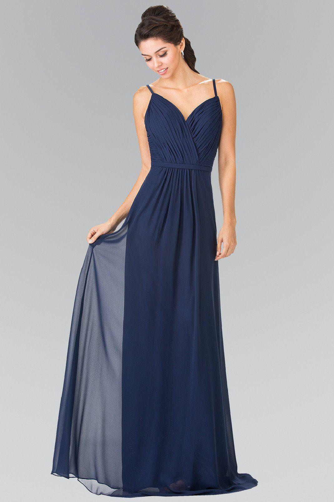 Long sweetheart spaghetti strap pleated dress by elizabeth k gl