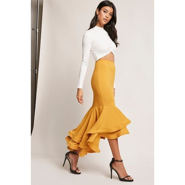 40e504b1f79d Forever21 High-Low Flounce Mermaid Skirt (647.810 IDR) ❤ liked on Polyvore  featuring skirts, mustard, layered ruffle skirt, forever 21, forever 21  skirts, ...