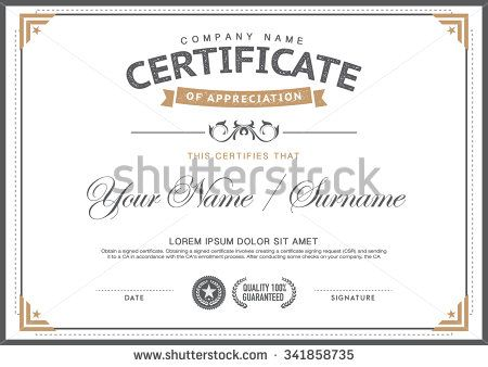 vintage certificate template smart,clean,hipster - stock vector - certificate designs templates