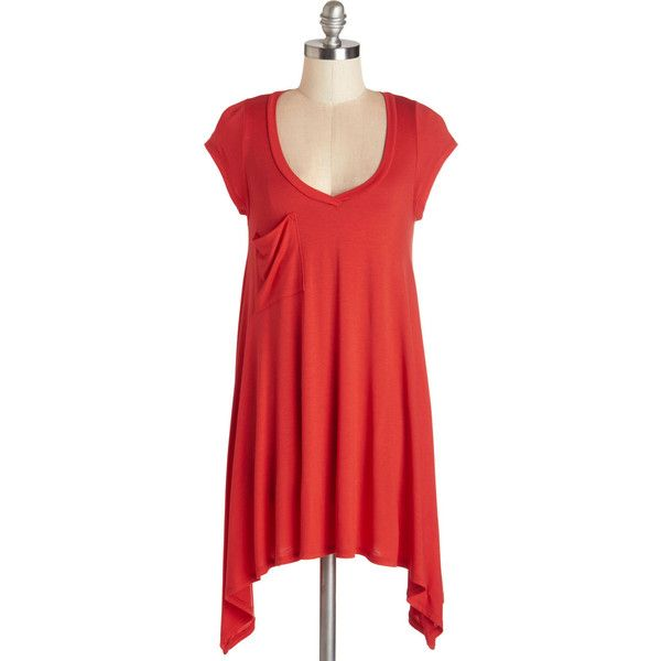 ModCloth Long Cap Sleeves A Crush on Casual Tunic ($30) ❤ liked on Polyvore featuring tops, tunics, red, shirts, apparel, knit top, short sleeve knit, short sleeve tunic, long red shirt and bat shirt