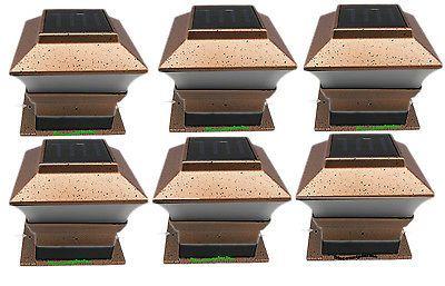 Outdoor Garden Square Solar LED Copper Post Deck Cap Fence Light Landscape Lamp