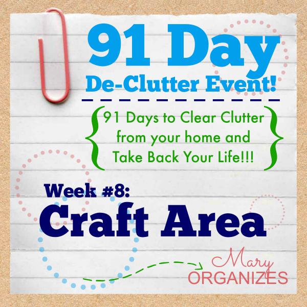 91 Day De-Clutter Week 8 -- Craft Area -- #91DayDeClutterChallenge #DeClutter #Craft #Organization http://maryorganizes.com/2014/10/week-8-craft-area/