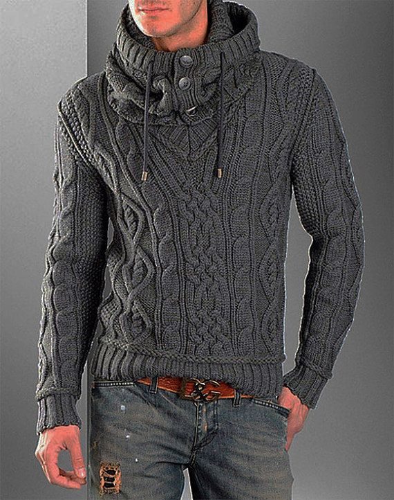 MADE TO ORDER Sweater V neck men turtleneck hand knitted sweater ...
