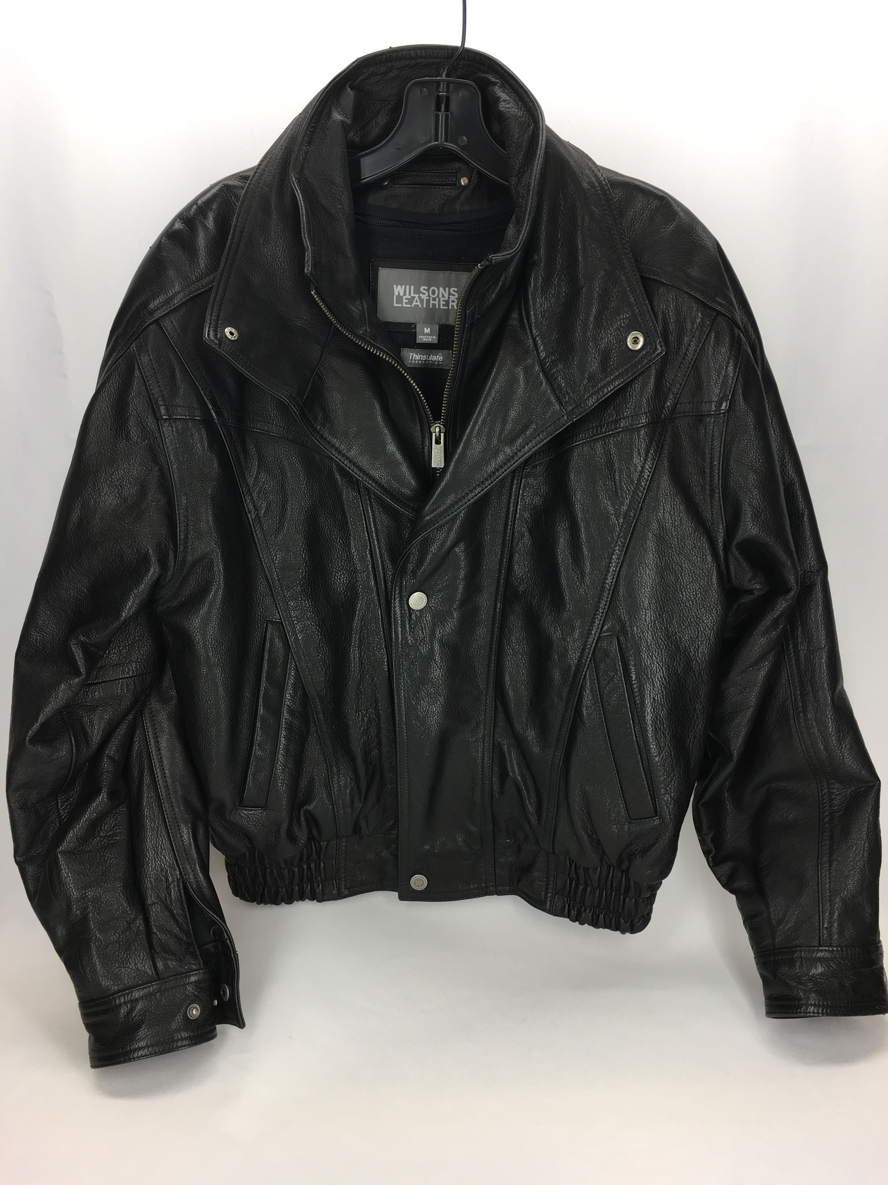 Wilson's Leather black bomber jacket for men Black