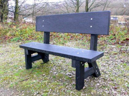 Croal 3 Seater Bench With Back Recycled Mixed Plastic Kedel Co Uk Bench Garden Bench